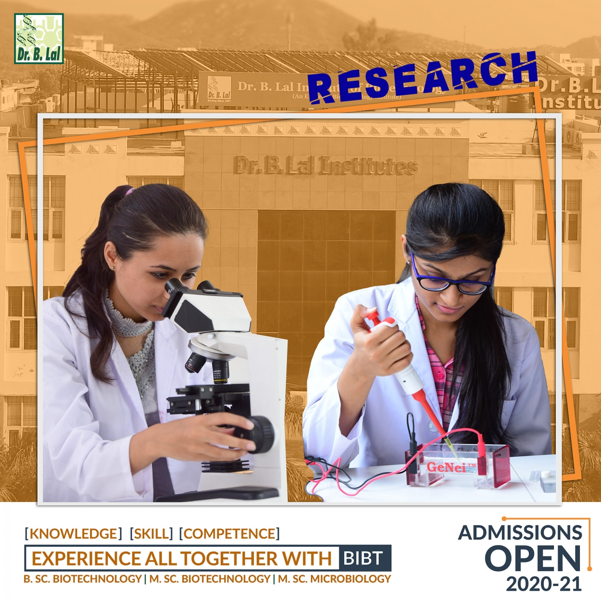 Admission Open 2020-21 | Dr. B. Lal Institute of Biotechnology