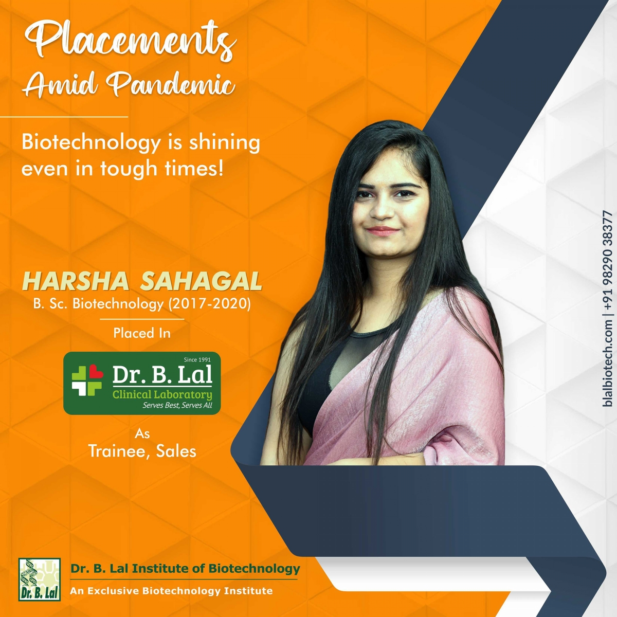 Ms. Harsha Sahagal | Placements Amid Pandemic | Dr. B. Lal Institute of Biotechnology