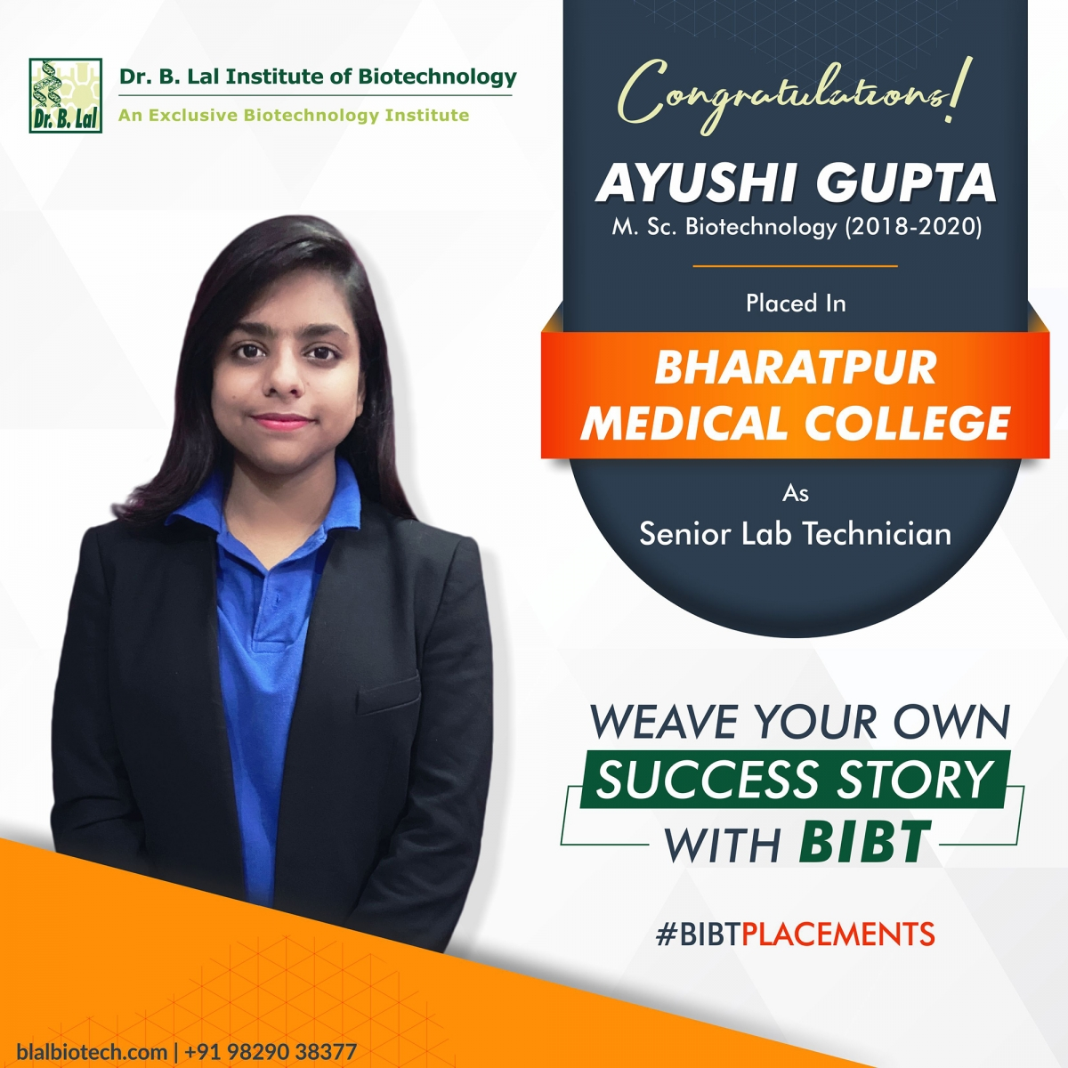 Placements 2020 | Dr. B. Lal Institute of Biotechnology