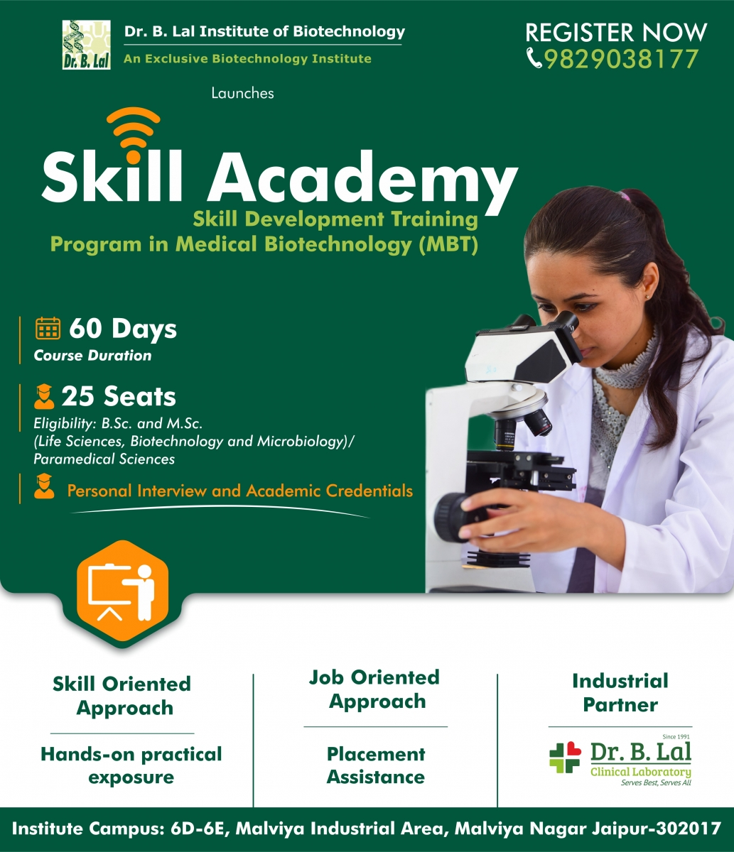 Skill Development Training Program in Medical Biotechnology (MBT) | Skill Academy