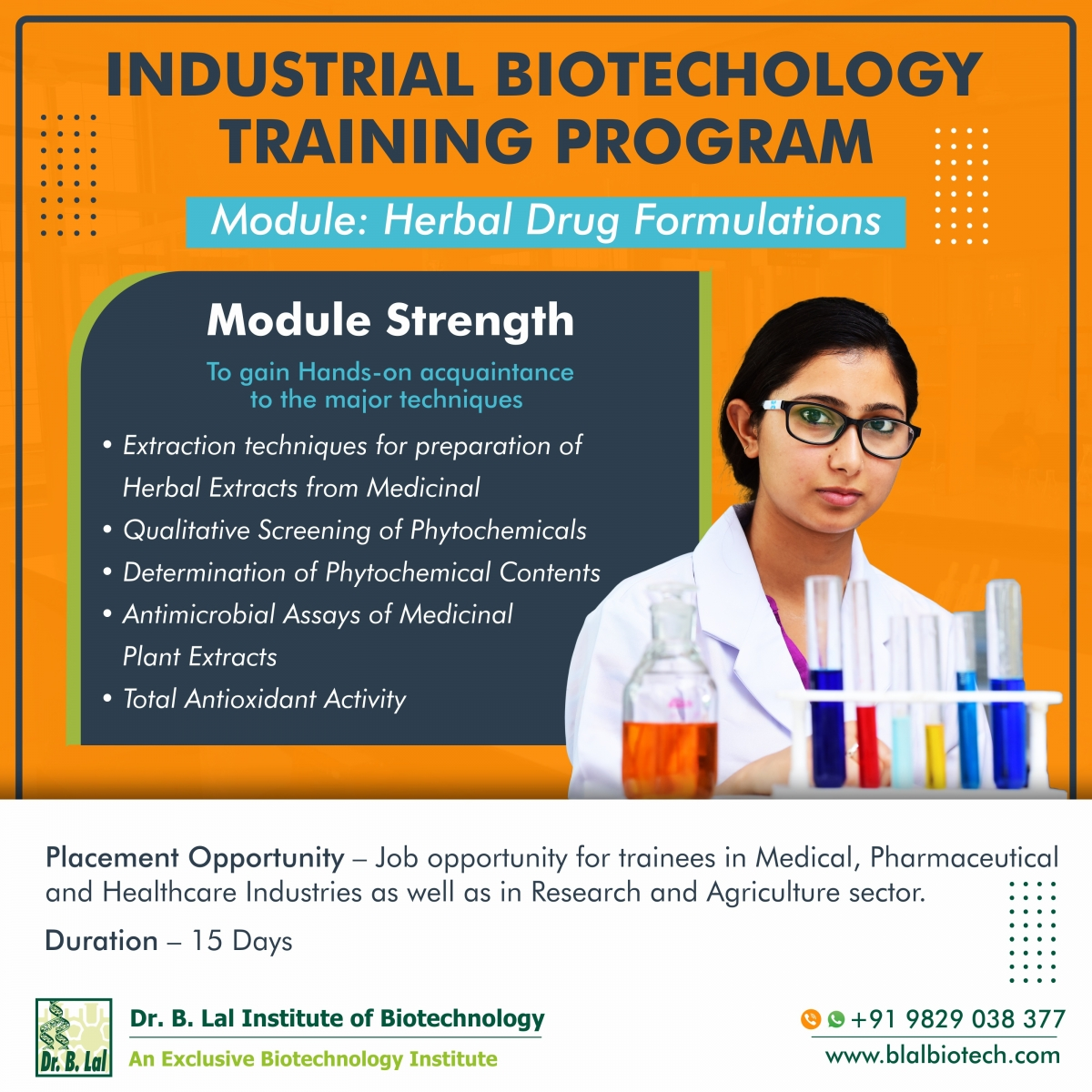 Industrial Biotechnology Training Program | Module: Herbal Drug Formulations
