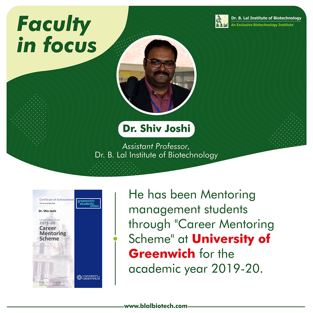 Dr. Shiv Joshi as a mentor at University of Greenwich