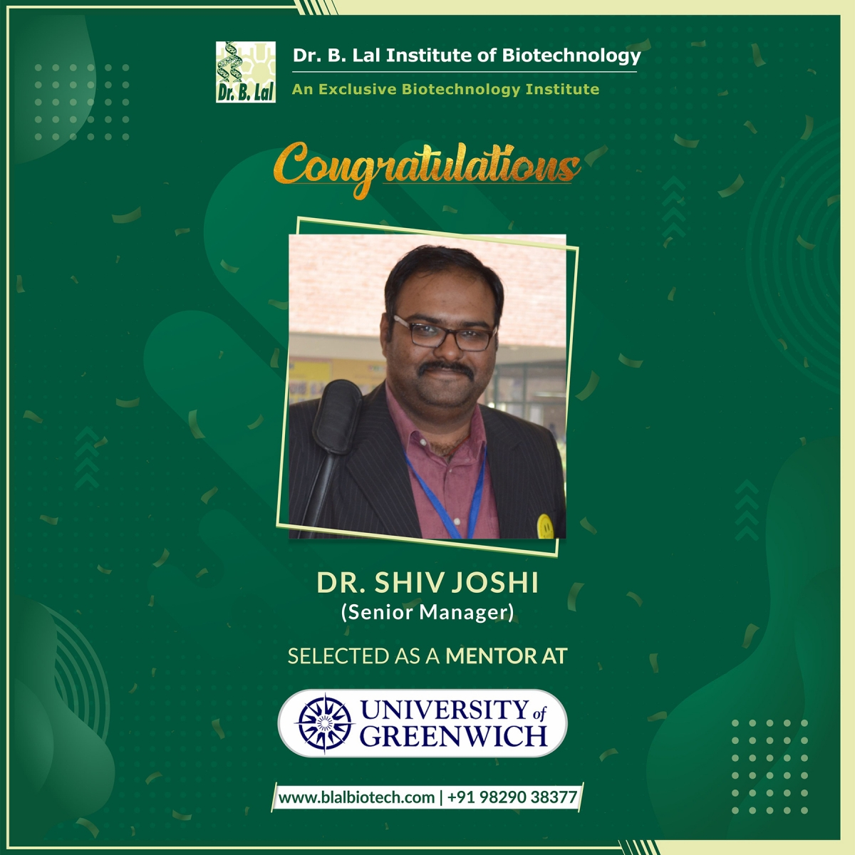 Dr. Shiv Joshi selected as a Mentor at the University of Greenwich, London
