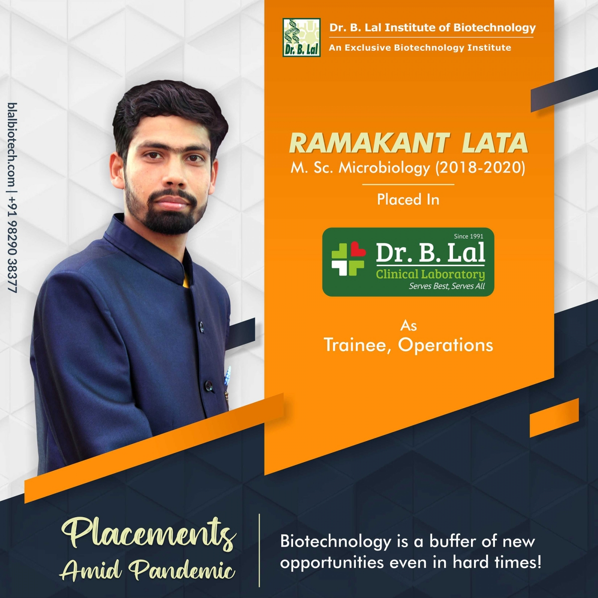 Ramakant Lata | Placements Amid Pandemic | Dr. B. Lal Institute of Biotechnology