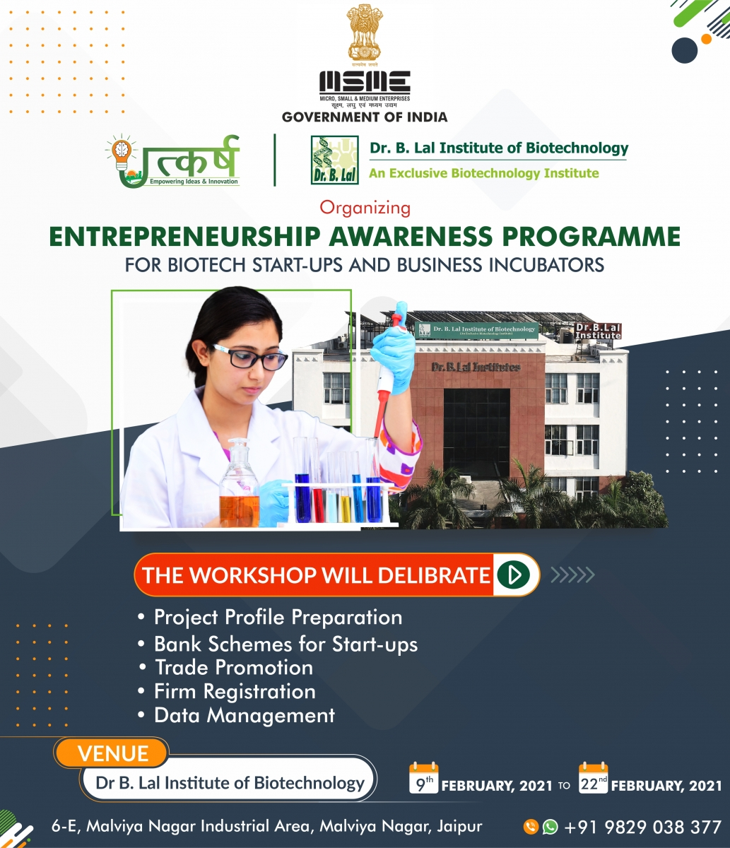 Entrepreneurship Awareness Programme for Biotech Start-ups and Business Incubators