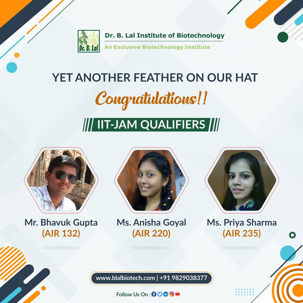 IIT-JAM QUALIFIERS   Dr. B. Lal Institute of Biotechnology