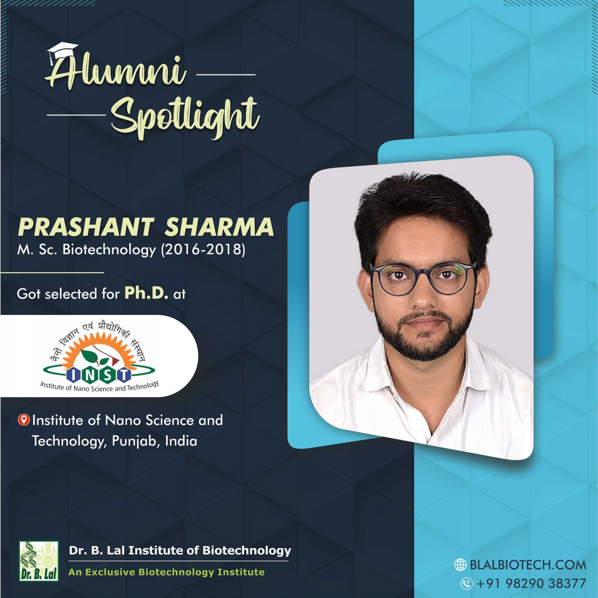 Mr. Prashant Sharma | Selected for Ph.D. at Institute of Nano Science and Technology