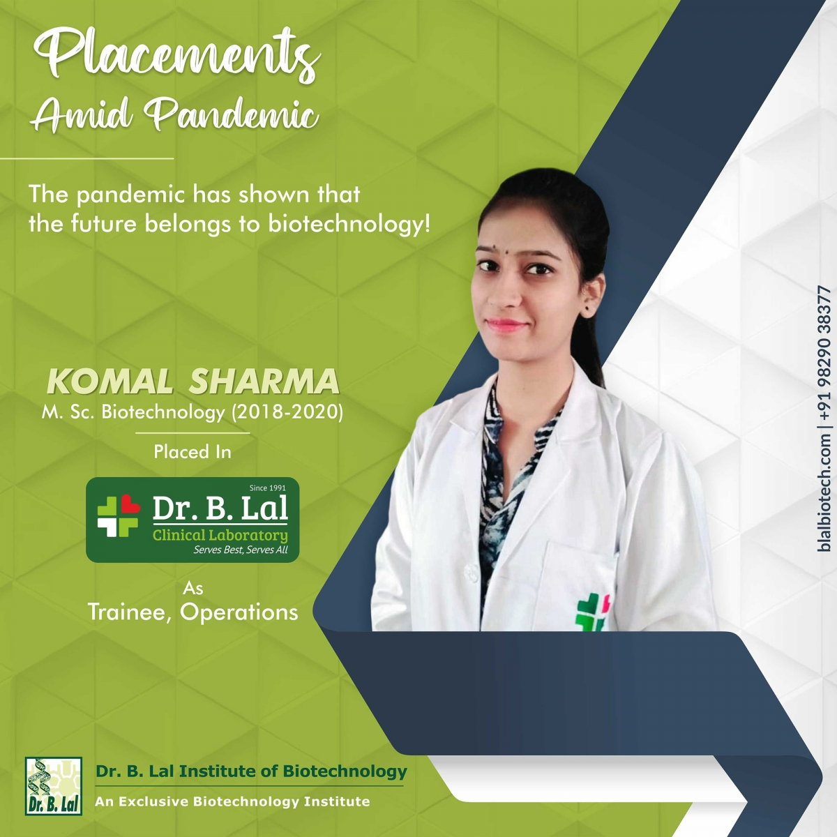 Komal Sharma | Placements Amid Pandemic | Dr. B. Lal Institute of Biotechnology
