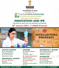 Online Webinar   Innovation and IPR for Biotech Start-ups and Business Incubators