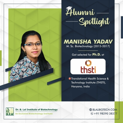 Ms. Manisha Yadav | Selected for Ph.D. at Translational Health Science and Technology Institute