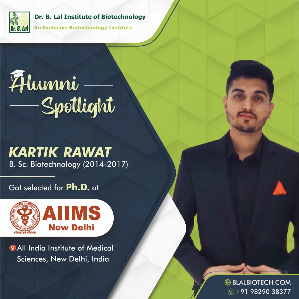 Mr. Kartik Rawat | Selected for Ph.D. at All India Institute of Medical Sciences, New Delhi