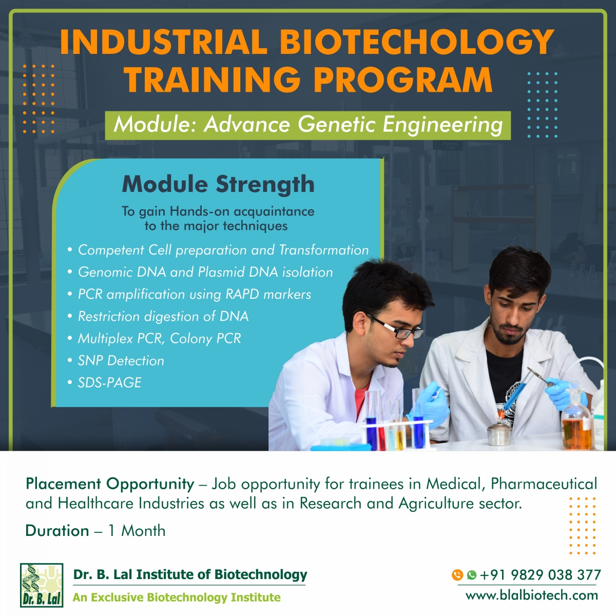Industrial Biotechnology Training Program | Module: Advance Genetic Engineering