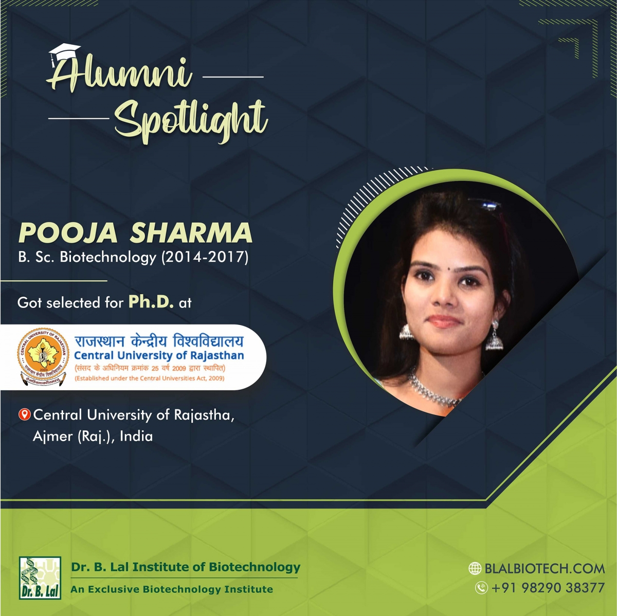 Ms. Pooja Sharma | Selected for Ph.D. at Central University of Rajasthan