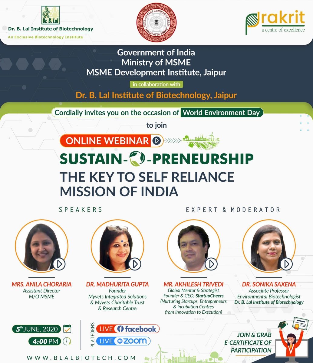Online Webinar | SUSTAIN-O-PRENEURSHIP: The Key to Self Reliance Mission of India | Dr. B. Lal Institute of Biotechnology, Jaipur