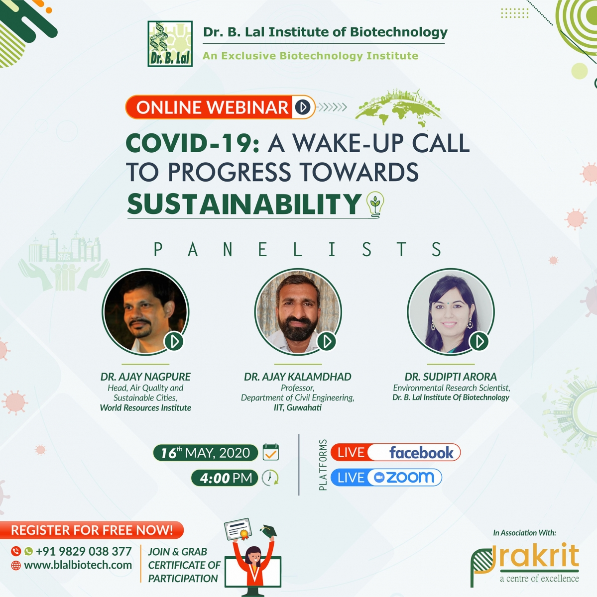 "Online Webinar ""COVID-19: A WAKE-UP CALL TO PROGRESS TOWARDS SUSTAINABILITY"