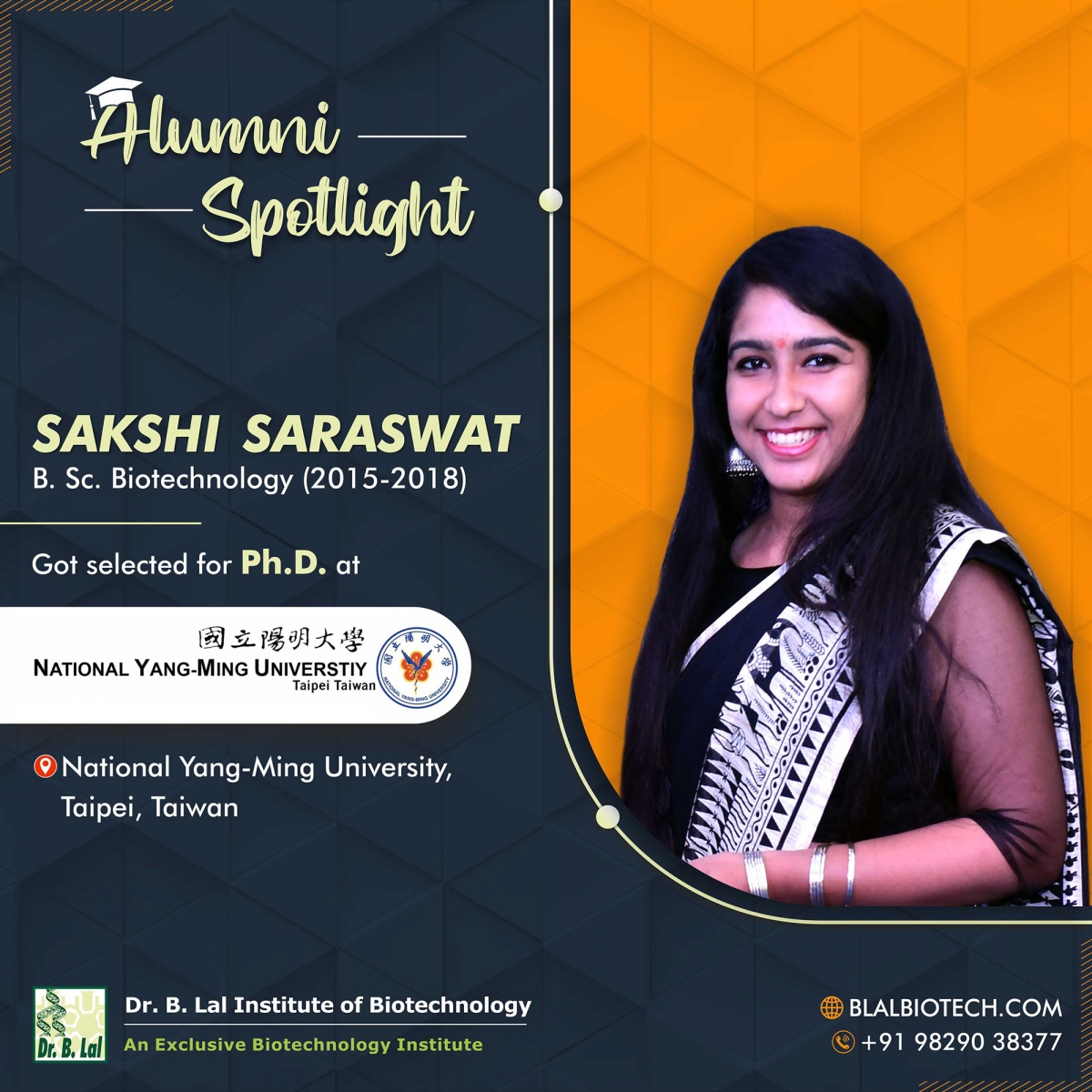 Ms. Sakshi Saraswat | Selected for Ph.D. at National Yang-Ming University, Taipei, Taiwan