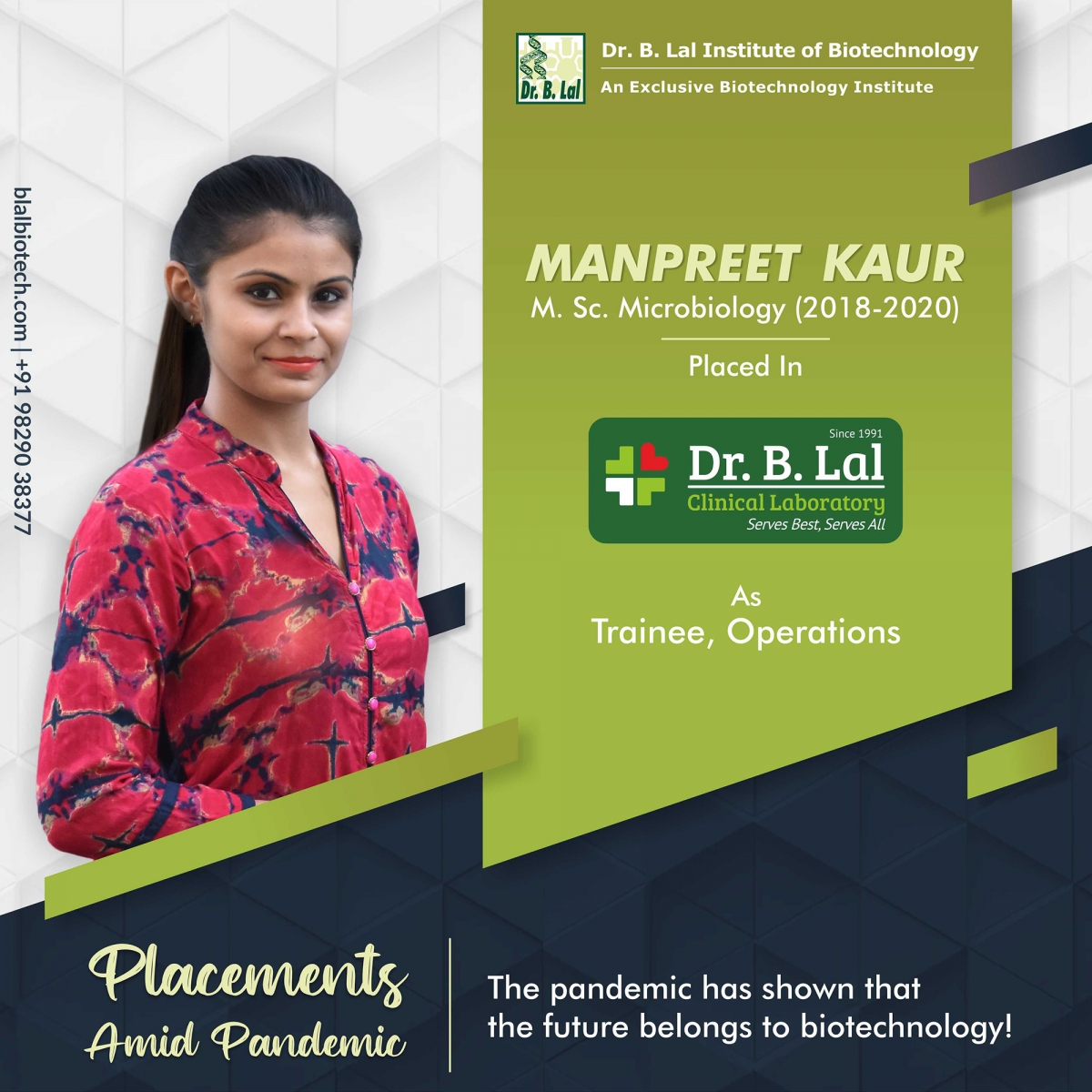 Manpreet Kaur | Placements Amid Pandemic | Dr. B. Lal Institute of Biotechnology