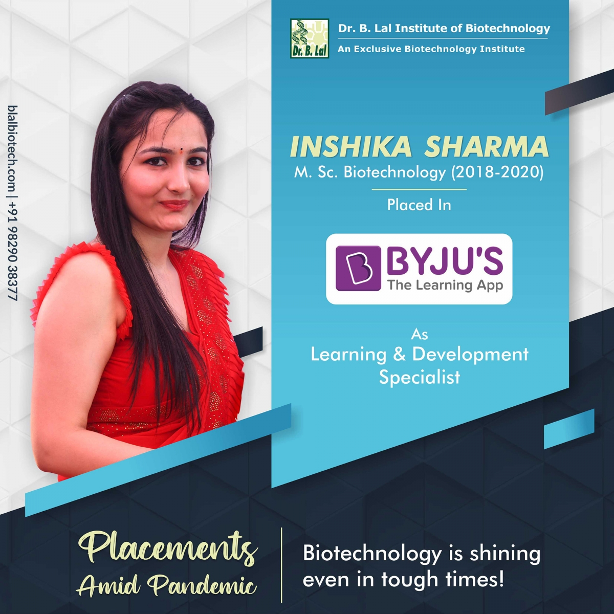 Inshika Sharma | Placements Amid Pandemic | Dr. B. Lal Institute of Biotechnology